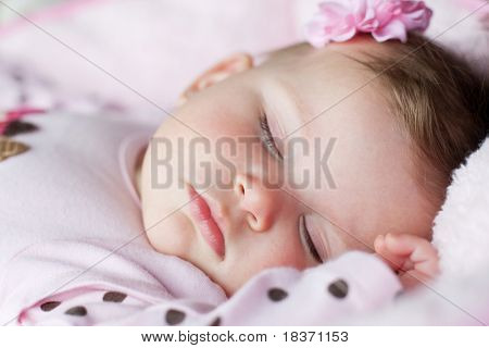 Closeup Baby Girl Sleeping under Soft Natural Light Extreme Shallow DOF