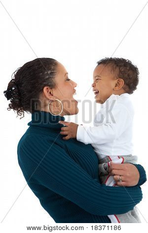 African American Mom Holding Baby Boy Smile on Isolated White Background