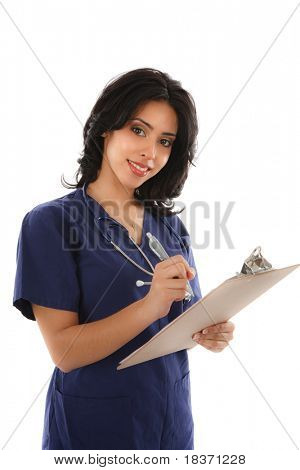 Friendly Smiling Hispanic Female Nurse Hold Clipboard on White Background