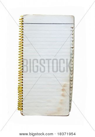 tainted notebook isolated on white background