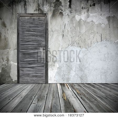 grunge interior with door