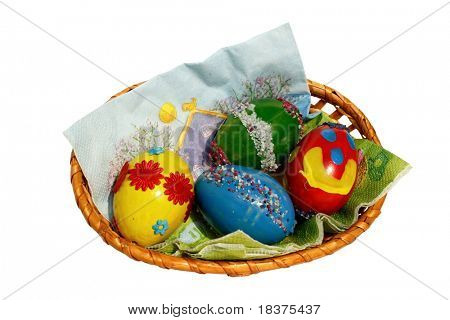 Easter basket of coloured eggs