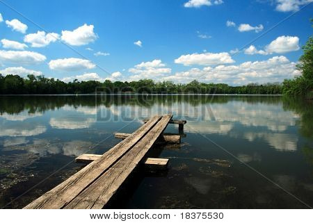 Bench over pond, Czech republic , east Europe