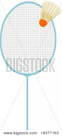 vector  - badminton racket with Badminton shuttle