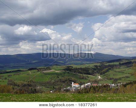 vista mountains  by name Jesenik and town  Branna