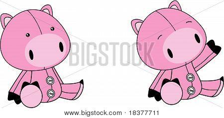 pig baby plush cartoon set