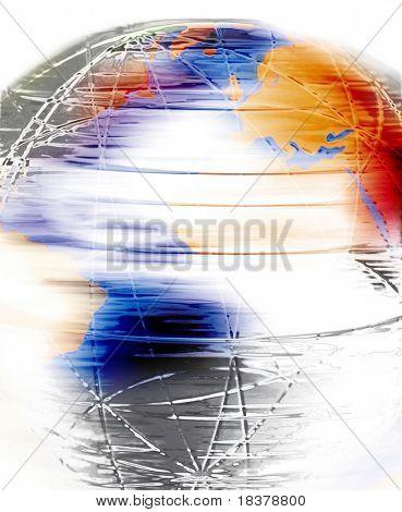 Spinning globe illustration