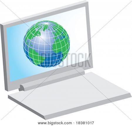 Laptop computer and globe