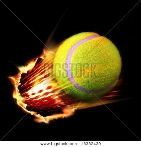 Tennis ball fire