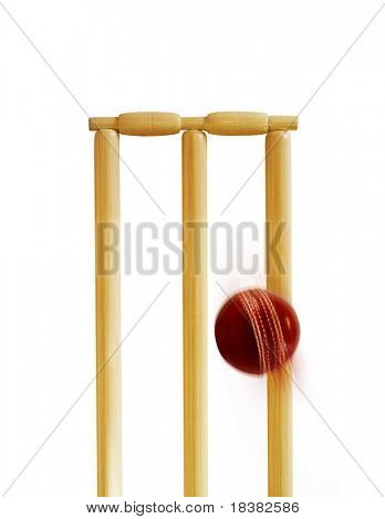 Cricket stumps and cricket ball