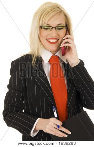 Attractive Young Business-Woman Calling By Cellular Phone
