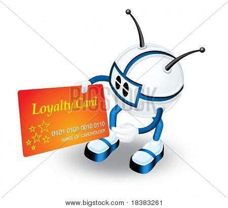 3D Character holding loyalty card