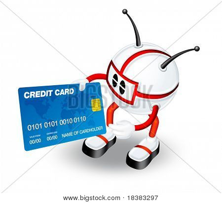3D red robot man holding credit card