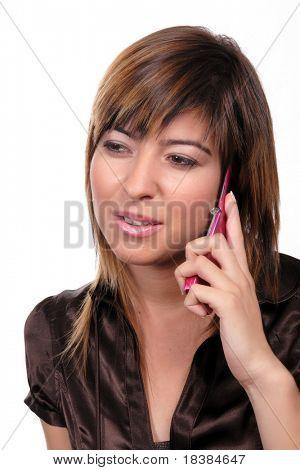 girl speaking at the telehone