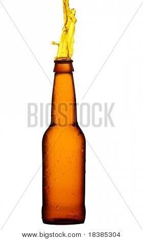 beer boottle isolated on white clipping path