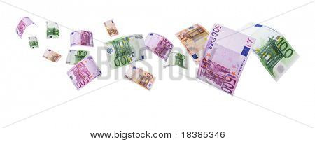 euro notes flying way isolated on white with clipping path