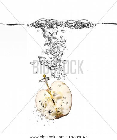apple splash in water isolated on white