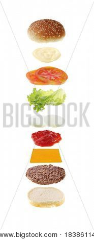hamburger ingredients isolated on white