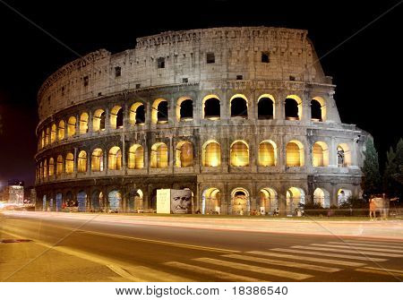 Italy, Rome, the Colosseum by night