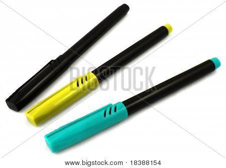 Color markers isolated on white (black, yellow, blue).