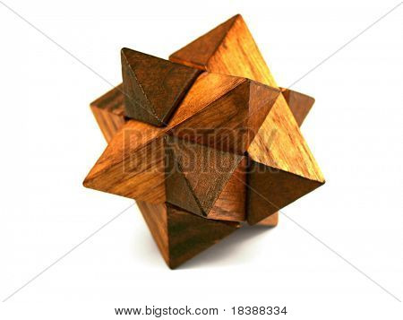 Cube, brick, logic puzzle. Isolated on white.