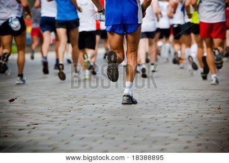 Leute, die in-City-marathon