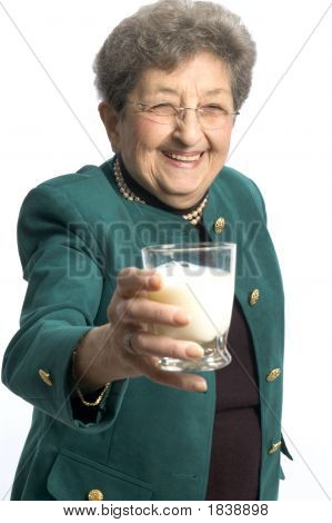 Healthy Woman With Glass Of Milk