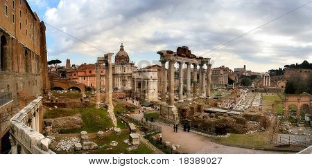 Panoramic view on ancient ruins of famous forum in Rome, Italy.