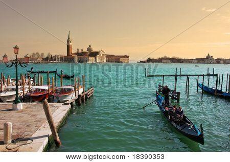 Grand Canal and San Giorgio Maggiore basilica in Venice, Italy.