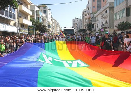 TEL AVIV - JUNE 12 : People hold a flag at Annual Gay Pride Parade June 12, 2009 in Tel-Aviv.