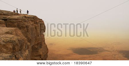Panoramic view on cliff over the Ramon Crater in Negev Desert in Israel.