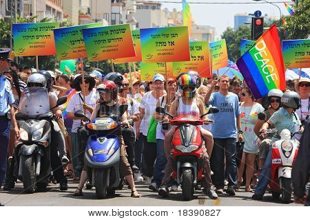 Tel Aviv, Israel - June 11: Annual Gay Pride Parade and Week of Proud celebrations on the streets June 11, 2010 in Tel Aviv, Israel.