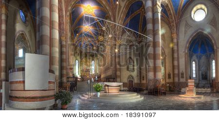 Interior panoramic view of San Lorenzo Cathedral (aka Alba Cathedral) in Alba, Italy.