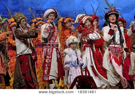 Chinese Qiang Ethnic Dancers