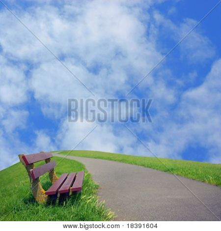 resting place on the road to a bright future with shallow depth