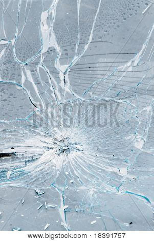 background of cracked and bursted car glass
