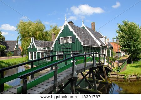 "historic dutch village ""zaanse schans"" with vintage wooden houses"