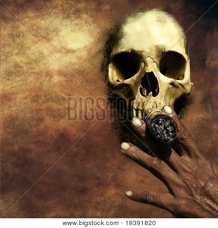 smoking kills concept on grunge background with skull and hand holding a big cigar