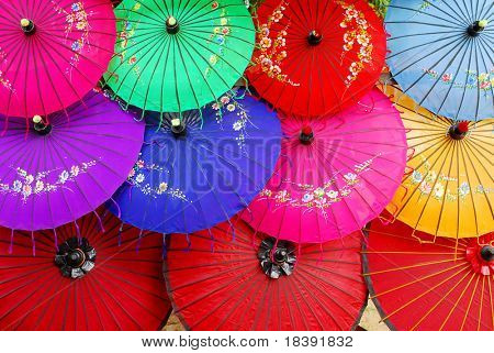 colorful asian umbrella's decorated with flowers