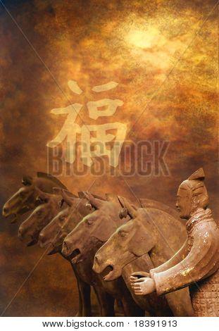 Guerrero de terracota y caballos de xian en fondo grunge con signo chino buena suerte