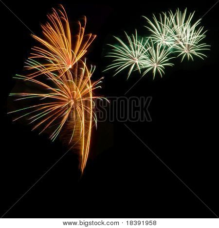 abstract fireworks isolated on black for a postcard of happy new year 2008
