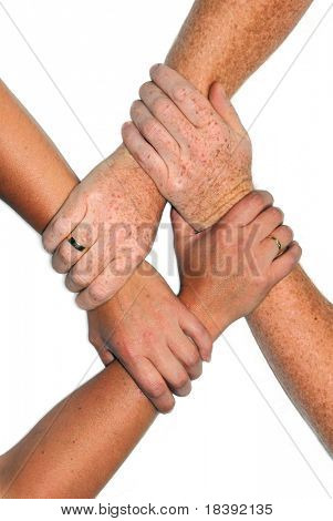 hands of man and woman bonding with golden wedding rings isolated on white background