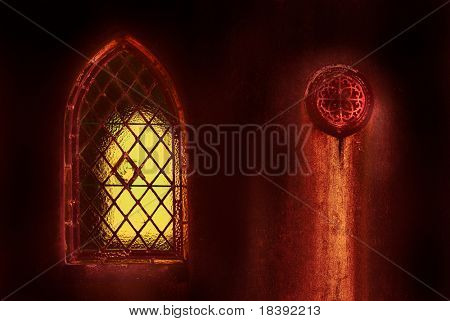 leaded lights quarrel window in old weathered haunted grave