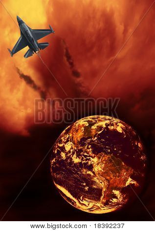 f16 fighter airplane on fiery flaming clouds leaving earth