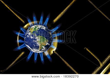 conceptual image of global warming with earth heated by gas stove