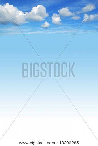 beautiful blue sky background with white fluffy clouds