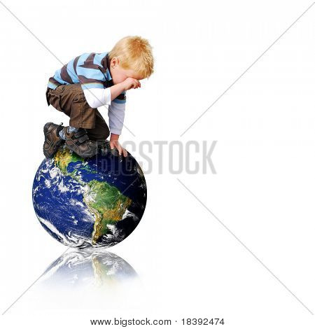 conceptual image of a young boy sitting on the world and crying over environmental issues, isolated on white background