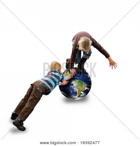 conceptual image of young boy and girl balancing on planet earth juggling with environmental issues, isolated on white background