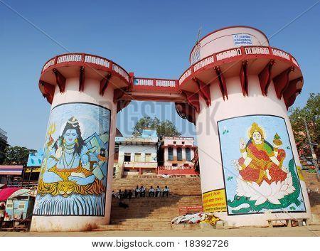 pillars at one of the ghats in Varanasi, India