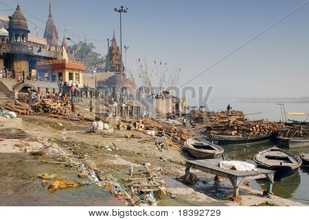 cremation ghat at the ganges in varanasi